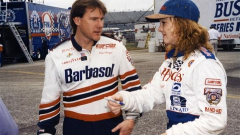1998:  Husband and wife racers Elton Sawyer and Patty Moise both ran the NASCAR Busch Series during the season. Sawyer drove Barbasol-sponsored Fords for owner Bob Sutton while Moise drove for owner Michael Waltrip with sponsorship from Rhodes Furniture. (Photo by ISC Images & Archives via Getty Images)