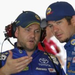 Martin Truex Jr. talks to crew chief Chad Johnson