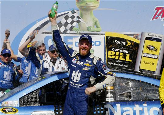 Dale Earnhardt Jr. celebrates in victory lane at Talladega Superspeedway after winning the Geico 500 on May 3, 2015.