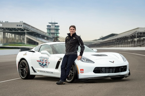 "Chevrolet announces Wednesday, April 29, 2015 that five-time Brickyard 400 winner and four-time NASCAR Sprint Cup champion Jeff Gordon will drive a Corvette Z06 pace car for the 99th running of the Indianapolis 500 mile race, on May 24 at the Indianapolis Motor Speedway. It is the 13th time a Corvette has served as the official pace car, dating to 1978, and the 26th time a Chevrolet has led the pack for ""The Greatest Spectacle in Racing.""  (Photo by IMS for Chevy Racing)"
