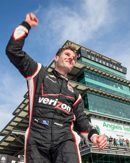 Will Power, driver of the #1 Verizon Team Penske Chevrolet V6 IndyCar, celebrates his victory Saturday, May 9, 2015, after winning the Verizon IndyCar Series Grand Prix of Indianapolis on the road course of the Indianapolis Motor Speedway in Indianapolis, Indiana. (Photo by Michael L. Levitt/LAT for Chevy Racing)