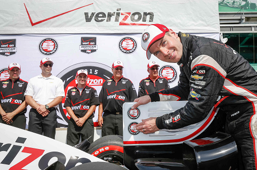 Will Power, driver of the #1 Verizon Team Penske Chevrolet V6 IndyCar, celebrates Friday, May 8, 2015 after winning the pole position during qualifying for Saturday's Verizon IndyCar Series Grand Prix of Indianapolis on the road course of the Indianapolis Motor Speedway in Indianapolis, Indiana. (Photo by Michael L. Levitt/LAT for Chevy Racing)