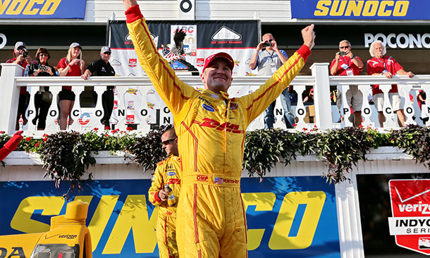 Ryan Hunter-Reay celebrates his win of the ABC Supply 500 at Pocono Raceway on Aug. 23, 2015 (photo courtesy of IndyCar).