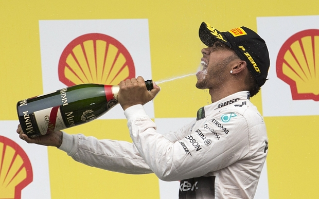 Lewis Hamilton celebrates winning the Belgian Grand Prix at Spa-Francorchamps on Aug. 23, 2015 (Photo courtesy of F1).