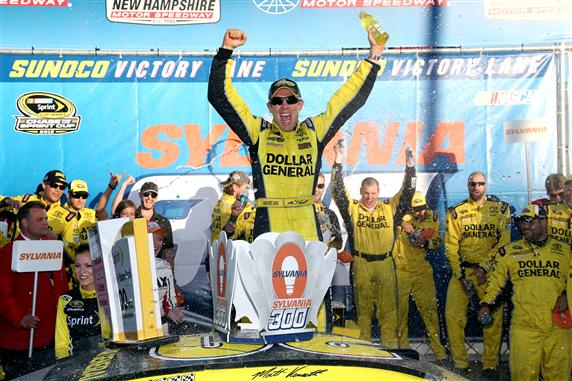 Matt Kenseth in victory lane at New Hampshire Motor Speedway on Sept. 27, 2015 (photo courtesy of Getty Images for NASCAR).