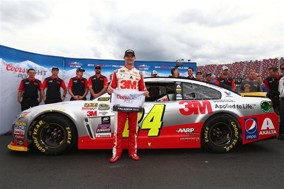 Jeff Gordon celebrates winning the pole for the CampingWorld.com 500 at Talladega Superspeedway on Oct. 24, 2015 (photo courtesy of Getty Images for NASCAR)