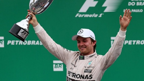 Nico Rosberg celebrates his win in Brazil (photo courtesy of F1).