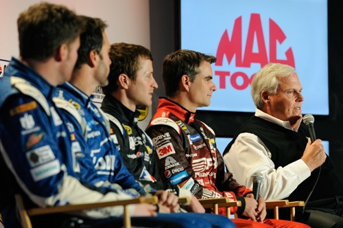 Hendrick Motorsports owner Rick Hendrick (right) with Sprint Cup drivers (left to right) Dale Earnhardt Jr., Jimmie Johnson, Kasey Kahne and Jeff Gordon (photo courtesy of Getty Images for NASCAR)