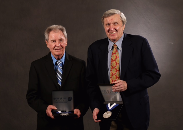Barney Hall (left) and Ken Squier are the first recipients of the Squier-Hall Award in 2012 (photo courtesy of Getty Images for NASCAR).
