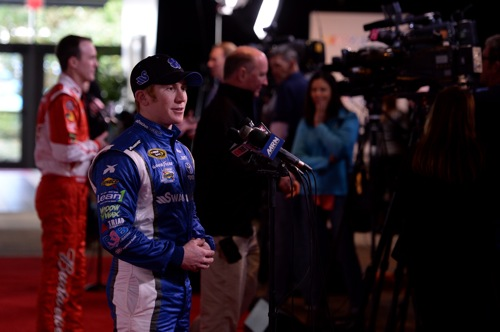 Cole Whitt participates in 2014 NASCAR Media Day at Daytona (Fla.) International Speedway (photo courtesy of Getty Images for NASCAR).