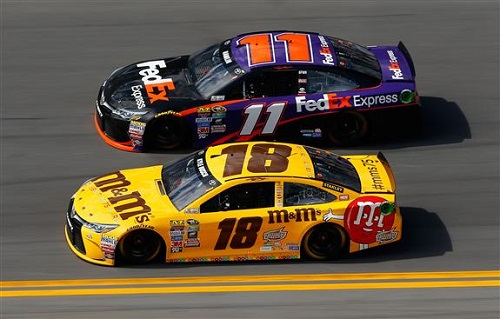 Denny Hamlin (11) and Kyle Busch (18) run up front in the Daytona 500 at Daytona International Speedway on Feb. 21, 2016 (photo courtesy of Getty Images for NASCAR).