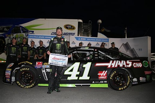 Kurt Busch celebrates a pole at Las Vegas Motor Speedway on Friday (photo courtesy of Getty Images for NASCAR)