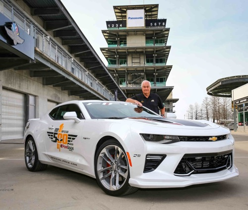 The 2017 Camaro SS 50th Anniversary Edition will lead the 100th running of the Indianapolis 500 at the Indianapolis Motor Speedway in Indianapolis, Indiana next month, driven by motorsports legend Roger Penske, who is marking 50 years as a race team owner. (Photo by Bret Kelley/IMS for Chevrolet).