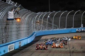 Scott Dixon, driver of the #9 Target Chip Ganassi Racing Chevrolet IndyCar V6 races to victory Saturday, April 2, 2016, taking the checkered flag at the Verizon IndyCar Series Phoenix Grand Prix in Avondale, Arizona. It was the first win of the season for Dixon and the 39th of his career. (Photo by Scott R. LePage/LAT for Chevy Racing)