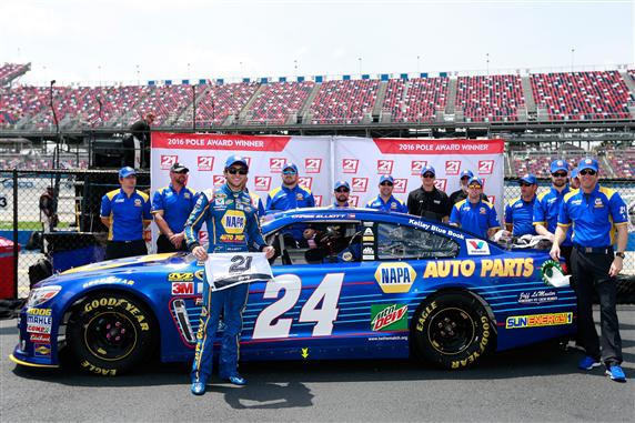 Chase Elliott celebrates the Geico 500 pole at Talladega Superspeedway on April 30, 2016 (photo courtesy of Getty Images for NASCAR).