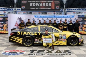 Carl Edwards celebrates a pole-winning run at Texas Motor Speedway on April 8, 2016 (photo courtesy of Getty Images for NASCAR).
