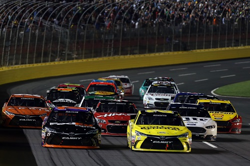 during the NASCAR Sprint Cup Series Sprint All-Star Race at Charlotte Motor Speedway on May 16, 2015 in Charlotte, North Carolina.