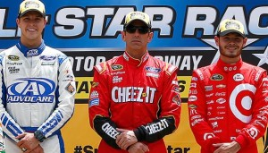 L to R: Sprint Showdown segment winners Trevor Bayne, Greg Biffle and Kyle Larson (photo courtesy of Getty Images for NASCAR)