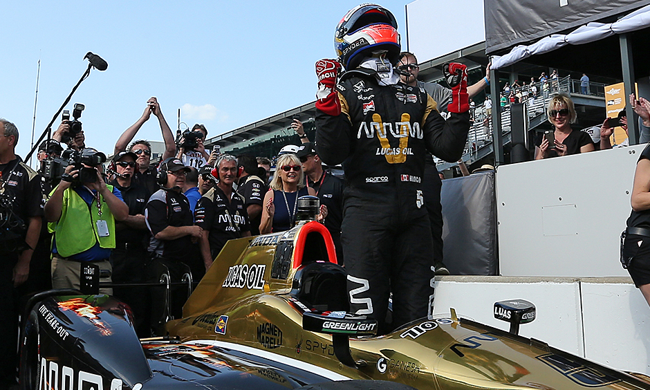 James Hinchcliffe celebrates winning the pole for the 2016 Indianapolis 500 on May 22, 2016 (photo courtesy of IndyCar).
