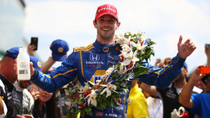 Alexander Rossi celebrates after winning the 100th running of the Indianapolis 500 on May 29, 2016 (photo courtesy of Getty Images)