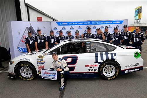 Brad Keselowski celebrates his pole-winning run at Pocono Raceway on June 3, 2016 (photo courtesy of Getty Images for NASCAR)
