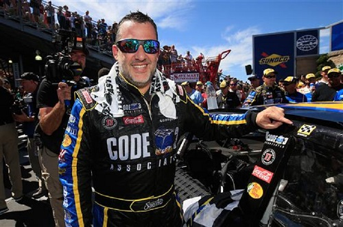 Tony Stewart after his win at Sonoma (Calif.) Raceway on June 26, 2016 (photo courtesy of Getty Images for NASCAR).