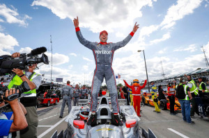 Will Power, driver of the #12 Verizon Team Penske Chevrolet IndyCar V6 celebrated his victory Sunday, June 5, 2016, winning the second of two Verizon IndyCar Series Chevrolet Dual In Detroit races on Belle Isle in Detroit, Michigan. (Photo by Michael L. Levitt/LAT for Chevy Racing)
