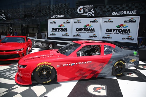 The 2017 Chevrolet Camaro for NASCAR Xfinity Series competition on display at Daytona International Speedway (photo courtesy of Getty Images for NASCAR).