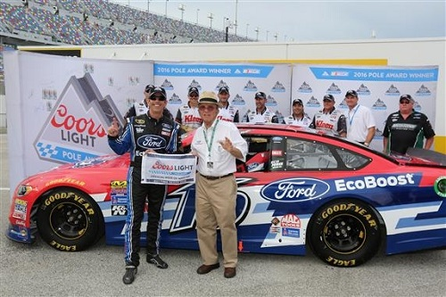 Greg Biffle (left) and car owner Jack Roush celebrates Biffle's Coke Zero 400 pole at Daytona International Speedway on July 1, 2016 (photo courtesy of Getty Images for NASCAR).