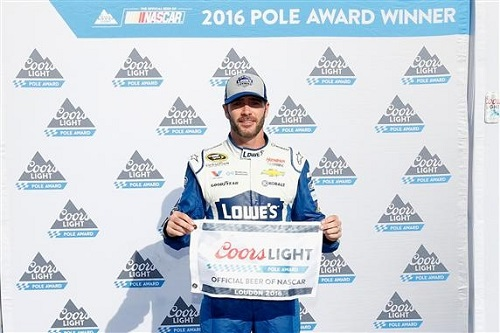 Jimmie Johnson celebrates his pole run at New Hampshire Motor Speedway on July 15, 2016 (photo courtesy of Getty Images for NASCAR).