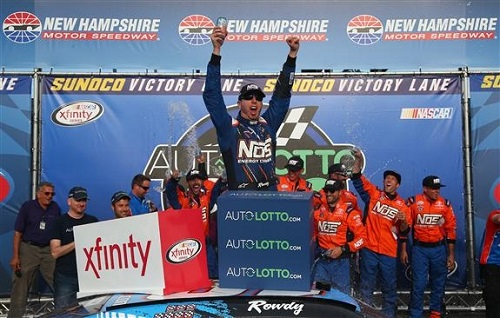Kyle Busch celebrates in victory lane at New Hampshire Motor Speedway after winning the Auto Lotto 200 on July 16, 2016 (photo courtesy of Getty Images for NASCAR).