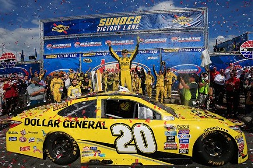 Matt Kenseth celebrates in victory lane at New Hampshire Motor Speedway after winning the New Hampshire 301 on July 17, 2016 (photo courtesy of Getty Images for NASCAR).