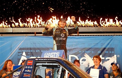 Kyle Larson celebrates in victory lane at Eldora Speedway after winning the Aspen Dental Eldora Dirt Derby on July 20, 2016 (photo courtesy of Getty Images for NASCAR).