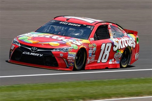 No. 18 Joe Gibbs Racing Toyota of Kyle Busch at Indianapolis Motor Speedway (photo courtesy of Getty Images for NASCAR)