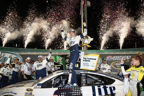 Brad Keselowski celebrates in victory lane at Kentucky Speedway after winning the Quaker State 400 on July 9, 2016 (photo courtesy of Getty Images for NASCAR).