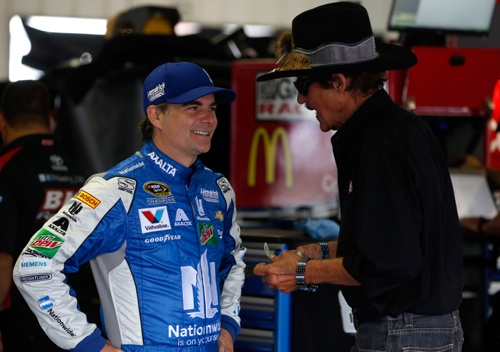 Jeff Gordon (left) with NASCAR Hall of Famer Richard Petty (photo courtesy of Getty Images for NASCAR).