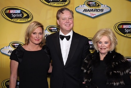 Betty Jane France (right) with children Lesa France Kennedy and Brian France (photo courtesy of Getty Images for NASCAR)