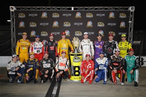 The 16 drivers in the 2016 Chase for the Sprint Cup pose for a group photo at Richmond International Raceway on Sept. 11, 2016 (photo courtesy of Getty Images for NASCAR).