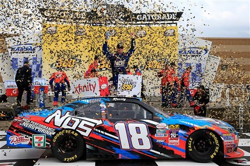 Kyle Busch celebrates his win of the Kansas Lottery 300 at Kansas Speedway on Oct. 15, 2016 (photo courtesy of Getty Images for NASCAR).
