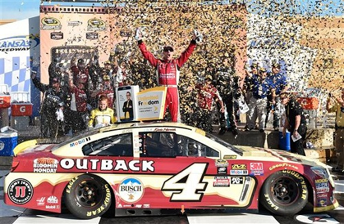 Kevin Harvick celebrates in victory lane after winning the Hollywood Casino 400 at Kansas Speedway on Oct. 16, 2016 (photo courtesy of Getty Images for NASCAR).