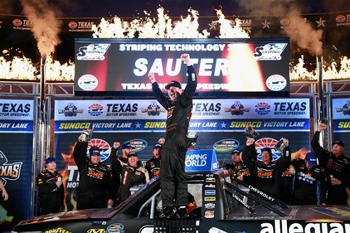 Johnny Sauter celebrates in victory lane at Texas Motor Speedway after winning the Striping Technology 350 on Nov. 4, 2016 (photo courtesy of Getty Images for NASCAR).