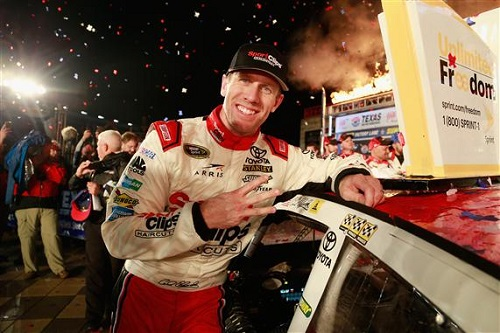 Carl Edwards wins the AAA Texas 500 at Texas Motor Speedway on Nov. 6, 2016 (photo courtesy of Getty Images for NASCAR).
