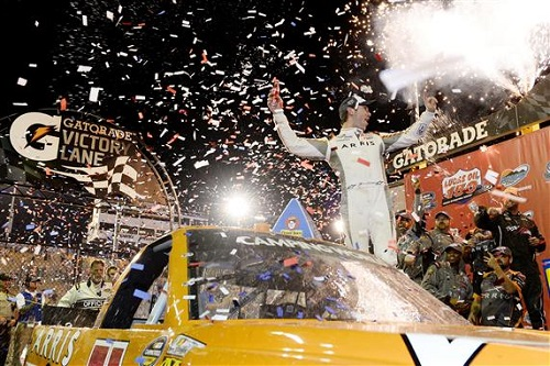 Daniel Suarez celebrates in victory lane at Phoenix International Raceway after winning the Lucas Oil 150 on Nov. 11, 2016 (photo courtesy of Getty Images for NASCAR).