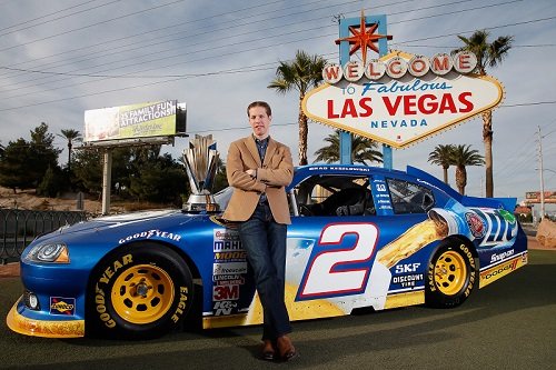 Brad Keselowski celebrates his 2012 Sprint Cup championship in Las Vegas (photo courtesy of Getty Images for NASCAR).