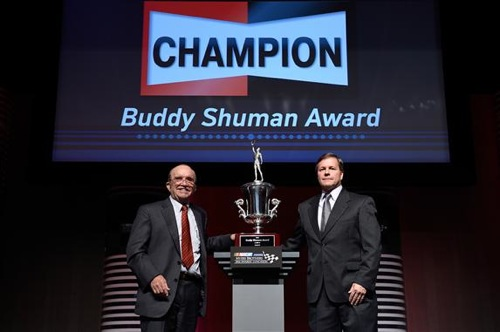 NASCAR Sprint Cup Series team owner Jack Roush receives the Buddy Shuman Award during the Myers Brothers Awards Luncheon at Wynn Las Vegas on Dec. 1, 2016 (photo courtesy of Getty Images for NASCAR).