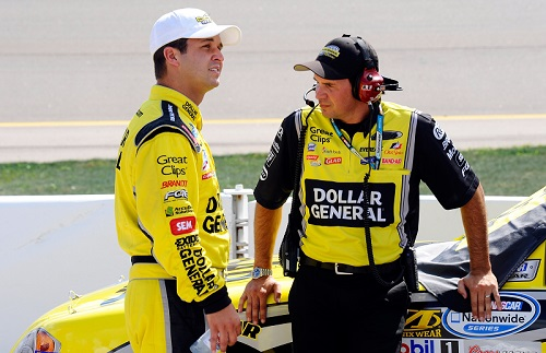 Trent Owens (right) with Reed Sorenson in 2011 (photo courtesy of Getty Images for NASCAR).