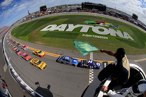 The geen flag waves on the 2016 Daytona 500 at Daytona International Speedway on Feb. 21, 2016 (photo courtesy of Getty Images for NASCAR).