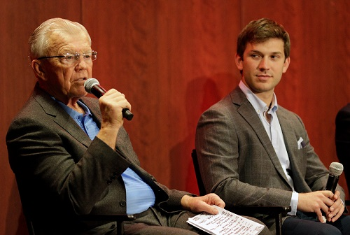 Daniel Suarez (right) and team owner Joe Gibbs during a press conference at Joe Gibbs Racing on Jan. 11, announcing Suarez as the new driver of the No. 19 Joe Gibbs Racing Toyota (photo courtesy of Getty Images for NASCAR).