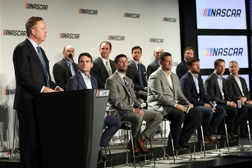 NASCAR Chairman and CEO Beian France addresses the media regarding a new points system Jan. 23, 2017 (photo courtesy of Getty Images for NASCAR)