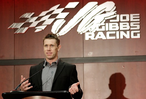 Carl Edwards speaks at a press conference at Joe Gibbs Racing in Huntersville, NC, on Jan. 11, 2017 (photo courtesy of Getty Images for NASCAR).